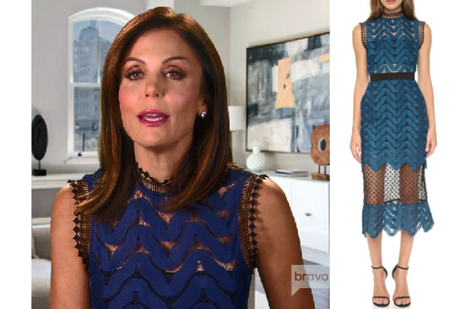 Real Housewives of New York, RHONY, Bethenny Frankel outfit, bravotv.com, #RHONY, #RHNY, #bravo, Real Housewives of New York style, Real Housewives of New York fashion, Bethenny Frankel style, shop your tv, the take, #RealHousewivesNewYork, worn on tv, tv fashion, clothes from tv shows, Real Housewives of New York outfits, bravo, shop your tv, reality tv clothes, Bethenny and Fredrick Season 1, Self Portrait high neck midi dress, Self Portrait blue dress, Self Portrait lace dress, #celebrity, #ootd, #celebstyle, #realitytv, #asseenontv, #fashion