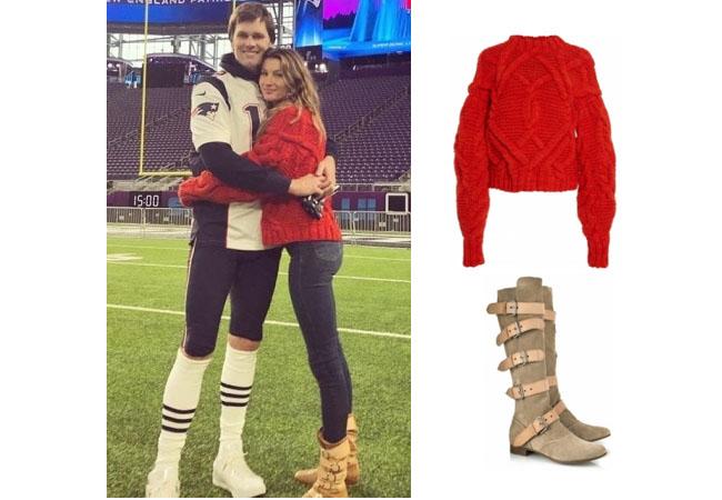 Giselle Bundchen, supermodel, model, celebrity, celeb, Tom Brady, Patriots, Super Bowl, football, nfl, ulla johnson pilar sweater, Giselles' red sweater, Vivenne Westwood pirate boots, fashion