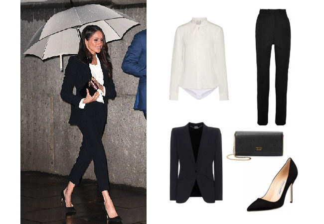 meghan markle s black suit blouse pumps and clutch at the endeavor fund awards ceremony february 2018 your style 411 your style 411