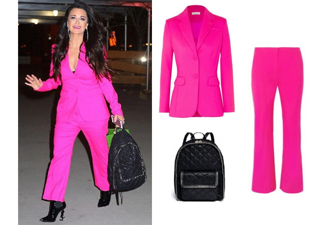 Real Housewives of Beverly Hills, RHBH, RHOBH, Kyle Richards, Kyle Richards Umansky,  Kyle Richards fashion, Kyle Richards style, Kyle Richards wardrobe, #RHOBH, #RealHousewivesBeverlyHills,  steal her style, the take, shop your tv, worn on tv, tv fashion, clothes from tv shows, Real Housewives of Beverly Hills outfits, bravo, reality tv clothes, Season 8, Altuzarra nettle flared wool pants, Altuzarra fenice wool blazer, Kyle Richards' pink suit, Stella McCartney quilted faux-brushed leather backpack