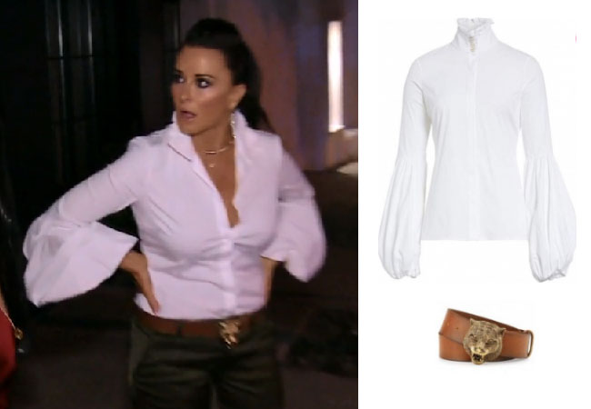 Real Housewives of Beverly Hills, RHBH, RHOBH, Kyle Richards, Kyle Richards Umansky,  Kyle Richards fashion, Kyle Richards style, Kyle Richards wardrobe, #RHOBH, #RealHousewivesBeverlyHills,  steal her style, the take, shop your tv, worn on tv, tv fashion, clothes from tv shows, Real Housewives of Beverly Hills outfits, bravo, reality tv clothes, Season 8, Caroline Constas Jacqueline Blouse, Gucci Tiger Belt