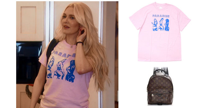 Real Housewives of Beverly Hills, RHBH, RHOBH, Erika Girardi, Erika Jayne, Erica Giradi, Erica Jane, #RHBH, #RealHousewivesBeverlyHills, shop your tv, the take, steal her style, worn on tv, tv fashion, clothes from tv shows, Real Housewives of Orange County outfits, bravo, reality tv clothes, Season 8, Gucci, Dior, Vintage, Erika's pink tee, Paradis3 brickhouse tee, Erika Jayne's pink t-shirt, Louis Vuitton backpack, Louis Vuitton monogram palm springs backpack