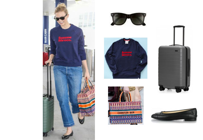 Karlie Kloss outfit, Karlie Kloss model, Karlie Kloss clothes, #chic, #streetstyle, #whatiwore, lookoftheday, Ray-Bay wayfarer, Dior book tote, Chanel cap toe flats, away travel carryon, rayban sunglasses, dior woven tote