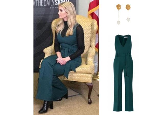 b247226b810 Ivanka Trump Millennials Panel Green Jumpsuit and Earrings