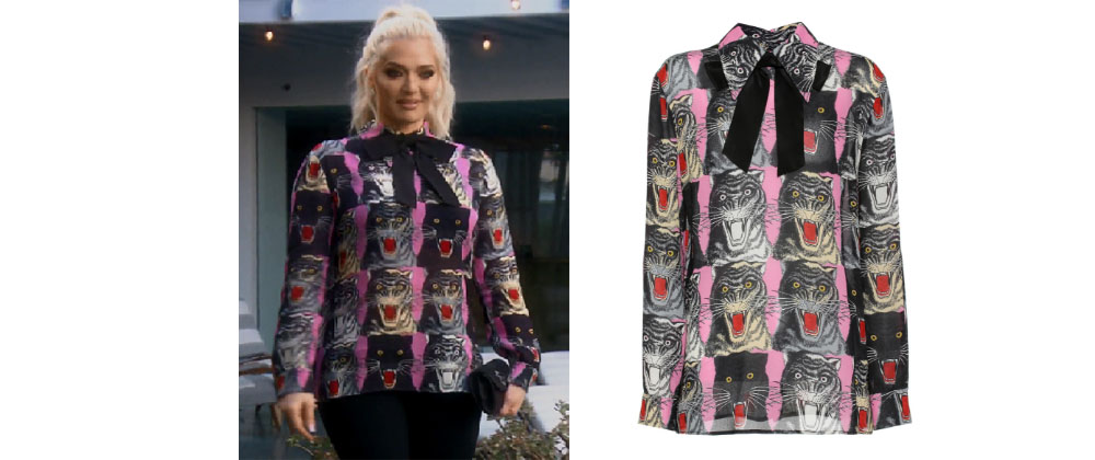 50d7f7f74 Erika Girardi (Jayne) of the Real Housewives of Beverly Hills wore this Gucci  cat print blouse on Season 8, Episode 13.