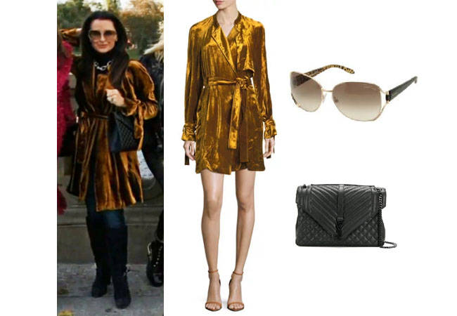 5798480d323 Kyle Richards of the Real Housewives of Beverly Hills wore in Berlin this  ALC velvet dress (worn as a coat and 50% off)