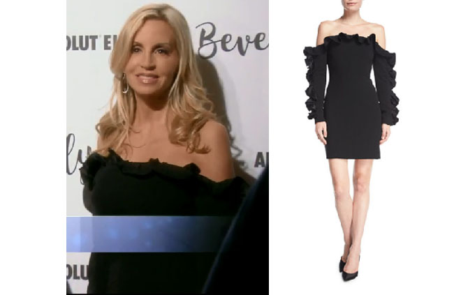 Real Housewives of Beverly Hills, RHBH, RHOBH, Camille Grammer fashion, Camille Grammar,  Camille Grammer fashion, Camille Grammer,  Camille Grammer style, Camille Grammer wardrobe, #RHOBH, #RealHousewivesBeverlyHills,  steal her style, the take, shop your tv, worn on tv, tv fashion, clothes from tv shows, Real Housewives of Beverly Hills outfits, bravo, reality tv clothes, Season 8, Cinq a sept rosiemarie off the shoulder dress, camille grammer's black ruffle dress, camille's dress at dorit's fashion show
