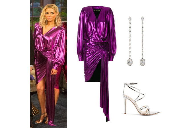 Real Housewives of Beverly Hills, RHBH, RHOBH, Dorit Kemsley, Dorit Kemsley fashion, Dorit Kemsley style, Dorit Kemsley wardrobe, #RHOBH, #RealHousewivesBeverlyHills,  steal her style, the take, shop your tv, worn on tv, tv fashion, clothes from tv shows, Real Housewives of Beverly Hills outfits, bravo, reality tv clothes, Season 8, designer, Gucci, Vintage, Alexandre Vauthier sash detail dress, Saint Laurent smoking crystal chain earrings, Gianvito Rossi Kim 100 leather sandals