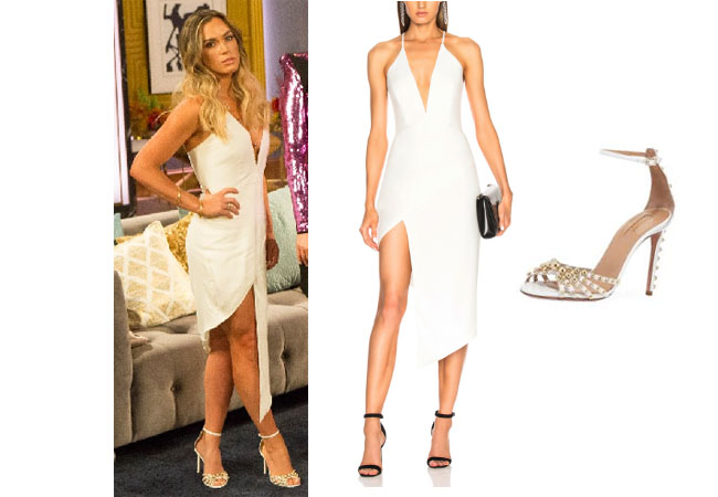 Real Housewives of Beverly Hills, RHBH, RHOBH, Teddi Mellencamp, Teddu Mellencamp, Teddi Mellencamp fashion, Teddi Mellencamp style, Teddi Mellencamp wardrobe, #RHOBH, #RealHousewivesBeverlyHills,  steal her style, the take, shop your tv, worn on tv, tv fashion, clothes from tv shows, Real Housewives of Beverly Hills outfits, bravo, reality tv clothes, Season 8, designer, Gucci, Vintage, Michelle Mason asymmetrical plunge dress, aquazurra bon bon beaded sandals, Teddi Mellencamp's reunion dress