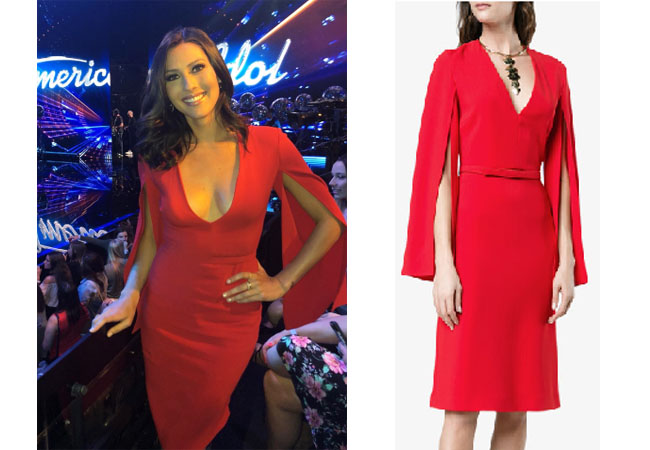 Becca Kufrin, The Bachelor, The Bachelorette, Bachelor in Paradise, #BIP, celebrity style, celebrity fashion, star style, starstyle, Becca Kufrin outfits, Becca Kufrin fashion, Becca Kufrin style, shop your tv, worn on tv, as seen on tv, where to get, clothes from tv shows, tv outfits, The Bachelorette 2018, stella mccartney v neck split sleeve dress, red v-neck dress, American Idol
