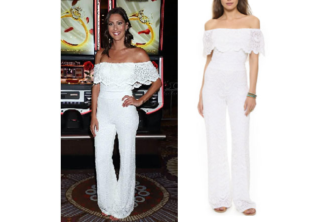 Becca Kufrin, The Bachelor, The Bachelorette, Bachelor in Paradise, #BIP, celebrity style, celebrity fashion, star style, starstyle, Becca Kufrin outfits, Becca Kufrin fashion, Becca Kufrin style, shop your tv, worn on tv, as seen on tv, where to get, clothes from tv shows, tv outfits, The Bachelorette 2018, nightcap clothing diamond lace positano jumpsuit