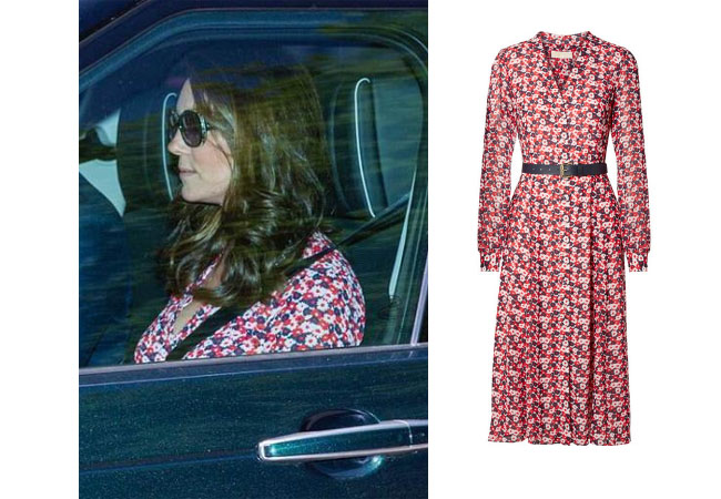 Duchess of Cambridge, Kate Middleton, #duchess, #duchesskate, #royalty, uk, #duchessofcambridge, #katemiddleton, celebrity, celebstyle, #dukeofcambridge, #royalfamily, #queenelizabeth, #princesscharlotte, #hautecouture, #pregnancy, #pregnantlife, #baby, #highfashion, michael kors carnation georgette shirtdress, royal wedding rehearsal dress, michael kors pink floral dress