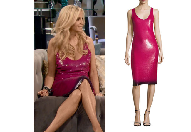 Real Housewives of Beverly Hills, RHBH, RHOBH, Camille Grammer fashion, Camille Grammar,  Camille Grammer fashion, Camille Grammer,  Camille Grammer style, Camille Grammer wardrobe, #RHOBH, #RealHousewivesBeverlyHills,  steal her style, the take, shop your tv, worn on tv, tv fashion, clothes from tv shows, Real Housewives of Beverly Hills outfits, bravo, reality tv clothes, Season 8, Ralph Lauren Collection Sequined Ombre Hem Sleeveless Dress, Camille's pink dress at reunion