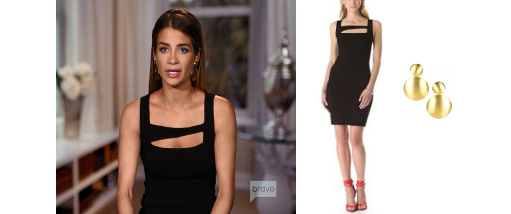7df881d84 Naomie Orlindo of Southern Charm wore this Helmut Lang black dress and Lisi  Lerch earrings during Season 5 testimonials.