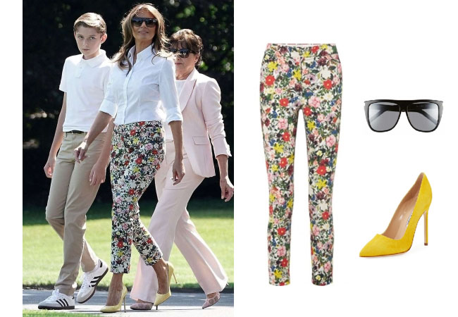 Melania Trump, celebrity style, celebrity fashion, celebrity outfits, celebrity wardrobe, Ivanka Trump style, Melania Trump fashion, Melania Trump outfits, 2017, Melania Trump, Erdem floral pants, Erdem sidney floral print pants, Saint Lauren SL1 55mm sunglasses, Manolo Blahnik BB 105mm suede pump yellow, Bedminster, New Jersey