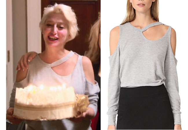 Real Housewives of New York, RHONY, Dorinda Medley outfit, Dorinda Medley wardrobe, bravotv.com, #RHONY, #RHNY, #bravo, Real Housewives of New York style, Real Housewives of New York fashion, Dorinda Medley style, shop your tv, the take, #RealHousewivesNewYork, worn on tv, tv fashion, clothes from tv shows, Real Housewives of New York outfits, bravo, shop your tv, reality tv clothes, lna leon top, grey cut-out top, Dorinda's grey top, Dorinda's grey cut-out top