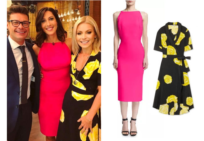 Becca Kufrin, The Bachelor, The Bachelorette, Bachelor in Paradise, #BIP, celebrity style, celebrity fashion, star style, starstyle, Becca Kufrin outfits, Becca Kufrin fashion, Becca Kufrin style, shop your tv, worn on tv, as seen on tv, where to get, clothes from tv shows, tv outfits, The Bachelorette 2018, Brandon Maxwell silk crepe open back cocktail dress, Ganni washed floral print dress, Kelly Ripa Live with Kelly and Ryan, Becca Kufrin on Kelly Ripa Live, Becca Kufrin's pink dress