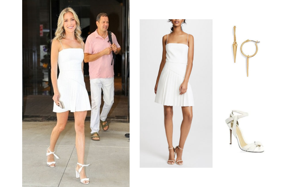 kristin cavallari white dress earrings and sandals in