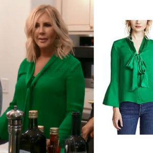 Real Housewives of Orange County, RHOC, Vickie Gunvalson, Vicki Gunvalson fashion, Vicki Gunvalson wardrobe, Vicki Gunvalson style, #RHOC, #RealHousewivesOrangeCounty, Season 13, shop your tv, the take, bravotv.com, worn on tv, tv fashion, clothes from tv shows, Real Housewives of Orange County outfits, bravo, reality tv clothes, as seen on tv, Real Housewives of Orange County Season 13, Real Housewives clothes, Alice + Olivia Meredith Blouse, Vicki's Green Blouse