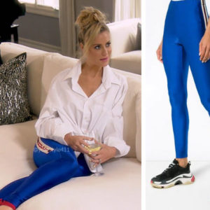 Real Housewives of Beverly Hills, RHOBH, Dorit Kemsley, Season 9, Dorit Kemsley's outfit, celebrity outfits, reality tv shows, Real Housewives of Beverly Hills outfits, bravo, reality tv clothes, Gucci logo leggings, Dorit's blue leggings