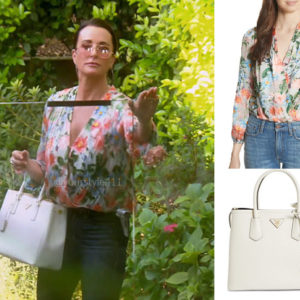 Real Housewives of Beverly Hills, RHOBH, Kyle Richards, Season 9, Kyle Richards' outfit, celebrity outfits, reality tv shows, Real Housewives of Beverly Hills outfits, bravo, reality tv clothes, Kyle Richards floral bloouse, Alice and Olivia trista blouse, Kyle Richards White Handbag, Prada Large Double Tote