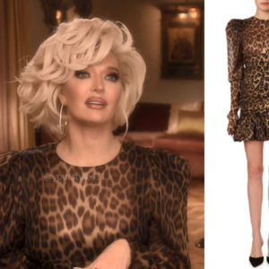 fortnite, Real Housewives of Beverly Hills, RHOBH, Erika Girardi, Season 9, Erika Girardi's outfit, celebrity outfits, reality tv shows, Real Housewives of Beverly Hills outfits, bravo, reality tv clothes, Magda Butrym Borneo dress, Erika Girardi's leopard dress, Erika looks like Linda Evangelista