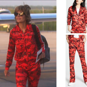 Real Housewives of Beverly Hills, RHOBH, Lisa Rinna, Season 9, Lisa Rinna's outfit, celebrity outfits, reality tv shows, Real Housewives of Beverly Hills outfits, bravo, reality tv clothes, Pam and Gela Camo Tack Pants, Pam and Gela Camo Track Pants
