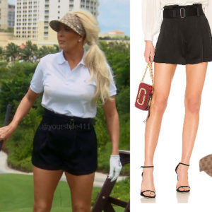 fortnite, Real Housewives of Beverly Hills, RHOBH, Erika Girardi, Season 9, Erika Girardi's outfit, celebrity outfits, reality tv shows, Real Housewives of Beverly Hills outfits, bravo, reality tv clothes, Erika Jayne, ALC Deliah Shorts, Gucci Visor, Erika Girardi's Golf Shorts, Erika Jayne's outfits