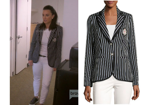 fortnite, Real Housewives of Beverly Hills, RHOBH, Kyle Richards, Season 9, Kyle Richards' outfit, celebrity outfits, reality tv shows, Real Housewives of Beverly Hills outfits, bravo, reality tv clothes, Kyle Richards striped blazer,, Veronica Beard Striped Pique blazer
