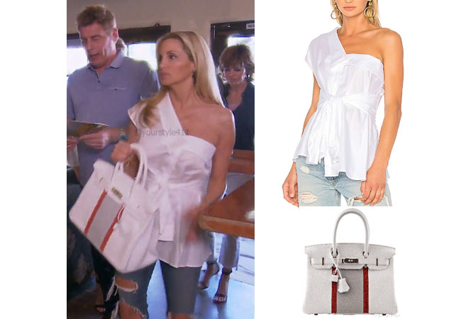 fortnite, Real Housewives of Beverly Hills, RHOBH, Denise Richards, Season 9, Camille Grammer's outfit, celebrity outfits, reality tv shows, Real Housewives of Beverly Hills outfits, bravo, reality tv clothes, Camille's white top, petersyn hadley top, Hermes Birkin bag