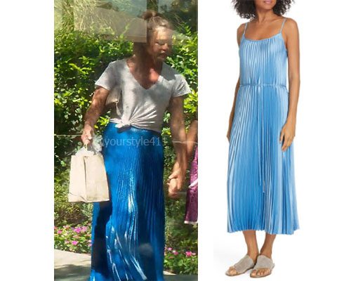fortnite, Real Housewives of Beverly Hills, RHOBH, Denise Richards, Season 9, Denise Richards's outfit, celebrity outfits, reality tv shows, Real Housewives of Beverly Hills outfits, bravo, reality tv clothes, Denise's blue skirt, Vince pleated satin slipdress