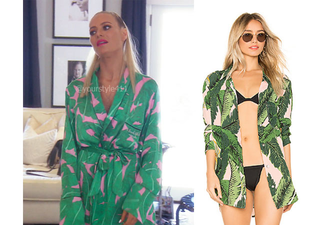 fortnite, Real Housewives of Beverly Hills, RHOBH, Dorit Kemsley, Season 9, Dorit Kemsley's outfit, celebrity outfits, reality tv shows, Real Housewives of Beverly Hills outfits, bravo, reality tv clothes, Dolce and Gabbana floral dress, Dorit's palm leaf top, Beach Riot Sunny Top