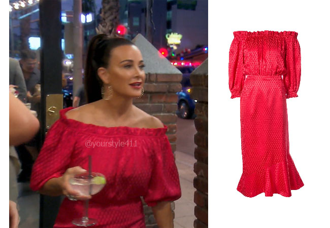fortnite, Real Housewives of Beverly Hills, RHOBH, Kyle Richards, Season 9, Kyle Richards' outfit, celebrity outfits, reality tv shows, Real Housewives of Beverly Hills outfits, bravo, reality tv clothes, Kyle Richards red dress,, Saloni Ruffle Mini Off-Shoulder Dress