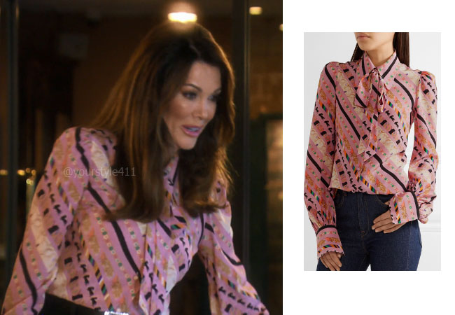 fortnite, Real Housewives of Beverly Hills, RHOBH, Lisa Vanderpump, Season 9, Lisa Vanderpump' outfit, celebrity outfits, reality tv shows, Real Housewives of Beverly Hills outfits, bravo, reality tv clothes, Vanderpump Rules, Lisa Vanderpump's Pink Blouse, Marc Jacobs Pussy-bow printed crepe de chine blouse