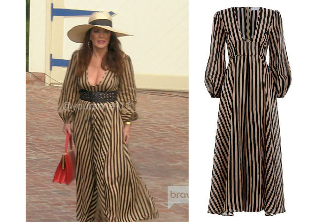 fortnite, Real Housewives of Beverly Hills, RHOBH, Lisa Vanderpump, Season 9, Lisa Vanderpump' outfit, celebrity outfits, reality tv shows, Real Housewives of Beverly Hills outfits, bravo, reality tv clothes, Vanderpump Rules, Lisa Vanderpump's Striped Dress, Zimmerman Jaya Plunge Dress
