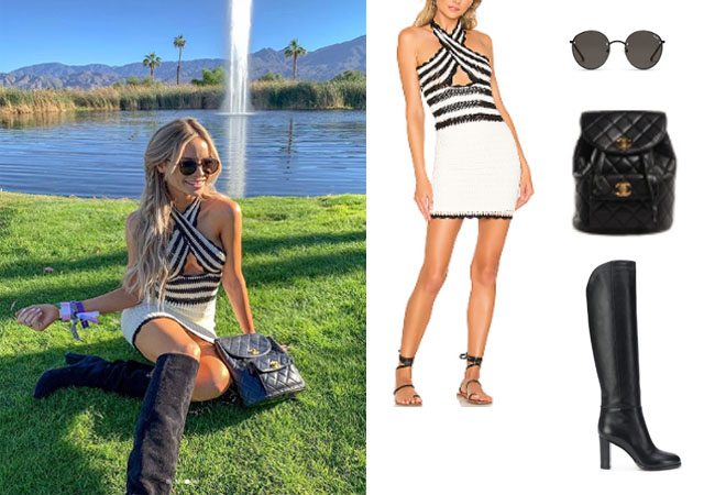 Coachella, Amanda Stanton, The Bachelor, The Bachelorette, X by NBD Lana Mini Dress, Amanda Stanton's black and white striped dress, Jimmy Choo Madalie Boots, Quay Farrah Sunglasses, Chanel Quilted Backpack, #coachellaoutfit, #festivals, #coachella2019, The Bachelorette, Bachelor In Paradise