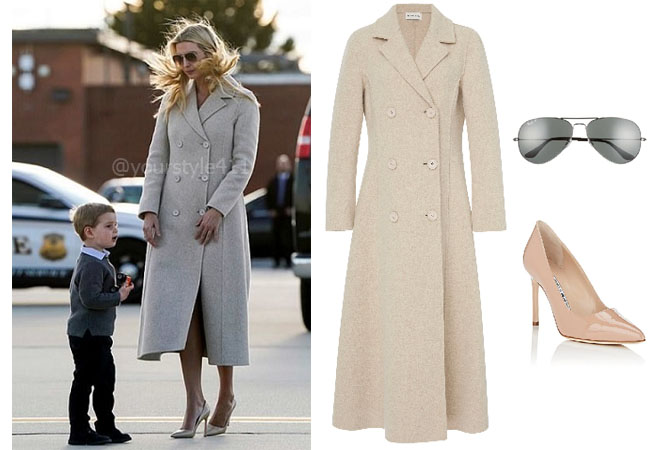 Ivanka Trump, Donald Trump, Melania Trump, Celebrity Outfits, Ivanka Trump outfits, Washington DC Outfits, Ivanka's clothes, Mansur Garviel Double Breasted Melange Coat, Ray-Ban Sunglasses, Manolo Blahnik BB Patent Pumps