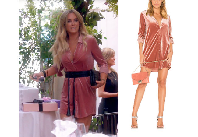 fortnite, Real Housewives of Beverly Hills, RHOBH, Teddi Mellencamp, Season 9, Teddi Mellencamp's outfit, celebrity outfits, reality tv shows, Real Housewives of Beverly Hills outfits, bravo, reality tv clothes, Teddi Mellencamp's pink dress at Camille's shower, by the way Vella Velvet Mini Dress