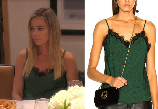 Real Housewives of Beverly Hills, RHOBH, Denise Richards, Season 9, Denise Richards's outfit, celebrity outfits, reality tv shows, Real Housewives of Beverly Hills outfits, bravo, reality tv clothes, Denise's green lace cami, Denise's green tank top, Veronica Beard Knox Cami