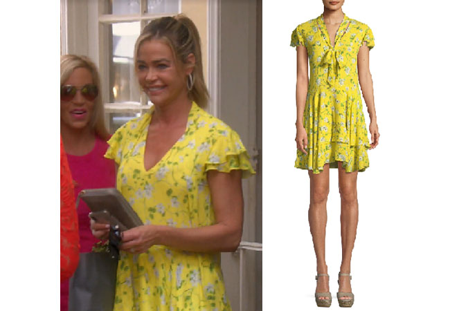 Real Housewives of Beverly Hills, RHOBH, Denise Richards, Season 9, Denise Richards's outfit, celebrity outfits, reality tv shows, Real Housewives of Beverly Hills outfits, bravo, reality tv clothes, Denise's yellow dress at shower, Denise's yellow floral dress, Alice + Olivia Moore dress, Alice & Olivia yellow dress