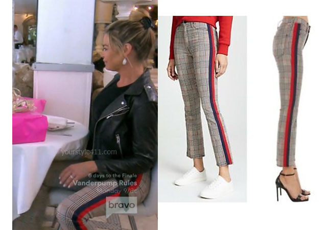 Real Housewives of Beverly Hills, RHOBH, Denise Richards, Season 9, Denise Richards's outfit, celebrity outfits, reality tv shows, Real Housewives of Beverly Hills outfits, bravo, reality tv clothes, Denise's plaid stripe pants, Mother the inside plaid striped pants