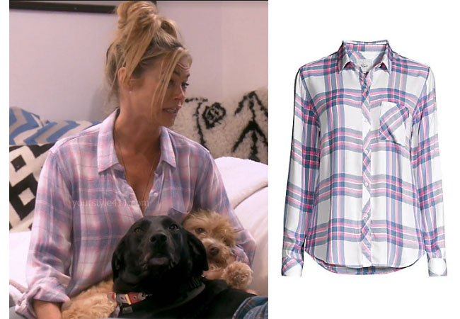 Real Housewives of Beverly Hills, RHOBH, Denise Richards, Season 9, Denise Richards's outfit, celebrity outfits, reality tv shows, Real Housewives of Beverly Hills outfits, bravo, reality tv clothes, Denise's plaid shirt, Rails Hunter shirt