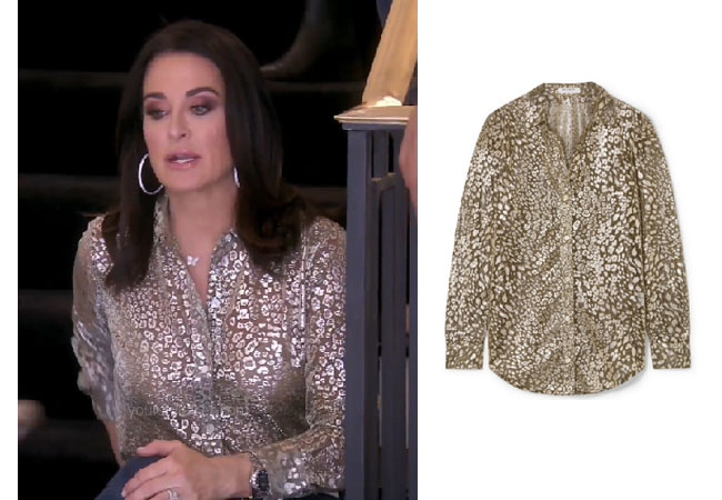 fortnite, Real Housewives of Beverly Hills, RHOBH, Kyle Richards, Season 9, Kyle Richards' outfit, celebrity outfits, reality tv shows, Real Housewives of Beverly Hills outfits, bravo, reality tv clothes, Bravo After Show, Kyle's gold metallic top, Kyle's top in christmas card, Equipment essential metallic shirt