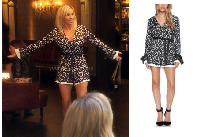 fortnite, Real Housewives of Beverly Hills, RHOBH, Denise Richards, Season 9, Camille Grammer's outfit, celebrity outfits, reality tv shows, Real Housewives of Beverly Hills outfits, bravo, reality tv clothes, Camille's lace romper, Camille's black and white lace romper, Alexis Aine Long Sleeve Romper