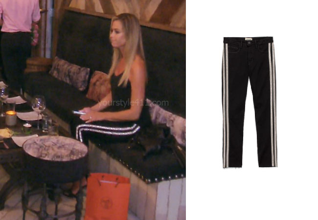 Real Housewives of Beverly Hills, RHOBH, Denise Richards, Season 9, Denise Richards's outfit, celebrity outfits, reality tv shows, Real Housewives of Beverly Hills outfits, bravo, reality tv clothes, Denise's black crystal stripe pants, L'Agence Margot crystal stripe pants