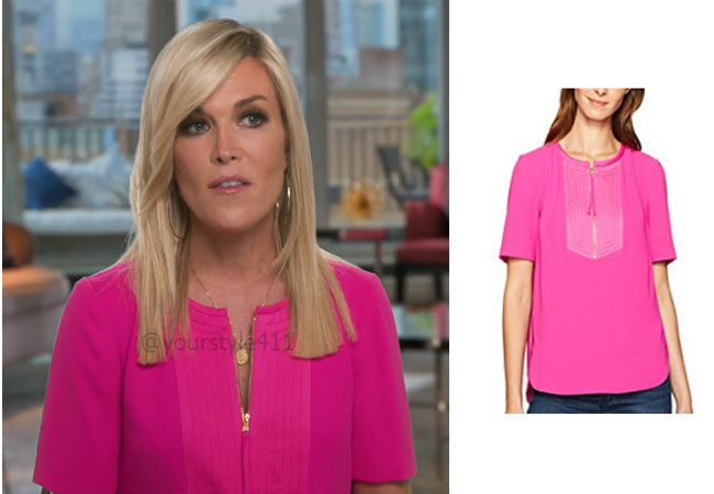 fortnite, Real Housewives of New York, RHONY, Tinsley Mortimer, #rhony, Season 11, Tinsley Mortimer's outfit, celebrity outfits, reality tv shows, Real Housewives of New York outfits, bravo, reality tv clothes, Tinsley Mortimer's Pink Top in Confessionals, Trina Turk Florene Carmel Crepe Zipper Top