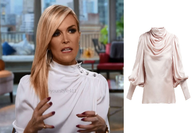 fortnite, Real Housewives of New York, RHONY, Tinsley Mortimer, #rhony, Season 11, Tinsley Mortimer's outfit, celebrity outfits, reality tv shows, Real Housewives of New York outfits, bravo, reality tv clothes, Zimmerman ninety-six silk satin blouse, Tinsley's blouse in Confessional, Tinsley's satin blouse