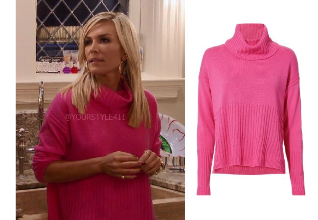 fortnite, Real Housewives of New York, RHONY, Tinsley Mortimer, #rhony, Season 11, Tinsley Mortimer's outfit, celebrity outfits, reality tv shows, Real Housewives of New York outfits, bravo, reality tv clothes, Derek Lam 10 Cosby cashmere pink turtleneck, Tinsley's pink sweater, Tinsley's hot pink sweater