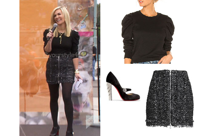 fortnite, Real Housewives of New York, RHONY, Tinsley Mortimer, #rhony, Season 11, Tinsley Mortimer's outfit, celebrity outfits, reality tv shows, Real Housewives of New York outfits, bravo, reality tv clothes, Jonathan Simkhai Tweed Skirt, Pam & Gela Puff Sleeve Top, Christian Louboutin Mary Janes, Tinsley's skirt, Tinsley's Christian Louboutins