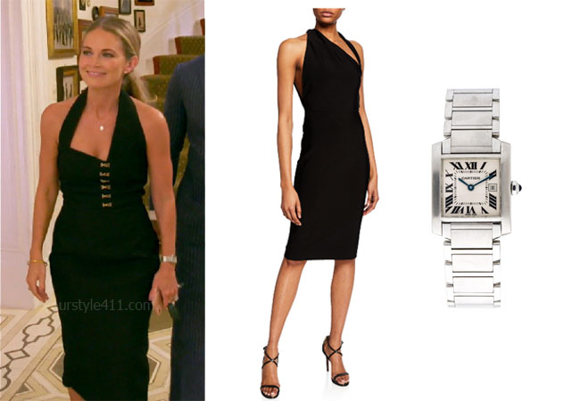 Southern Charm, Bravo TV, Cameran Eubanks, Star Style, fortnite, Game of Thrones, Cameran Eubanks' outfit, Cameran Eubanks clothes, celebrity outfit, ootd, Jcrew blazer, Cameran's taupe bag, Cameran's watch, Cartier Tank Francaise Watch, Misha Misu Asummetric Halter Dress